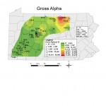 The lab analysis for Gross Alpha identifies all alpha radiation from all radionuclides. It does not determine what radionuclide produced the alpha radiation (Kirby,2011).